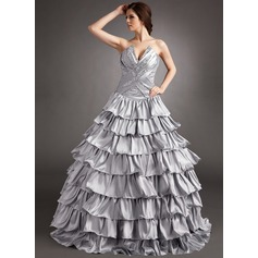 Ball-Gown Scalloped Neck Floor-Length Taffeta Quinceanera Dress With Beading Sequins Cascading Ruffles