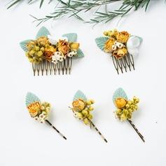 Damer Spesielle Silke blomst Kammer og Barrettes (Sett med 5)