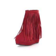 Femmes Suède Talon plat Plateforme Bottines avec Tassel chaussures
