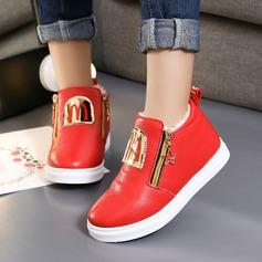 Mädchens Geschlossene Zehe Leder Flache Schuhe mit Reißverschluss