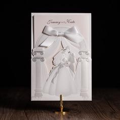 Personlig & brudgum stil Wrap & Pocket Inbjudningskort med Rosett/-er (Sats om 50)