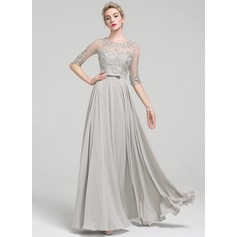 A-Line/Princess Scoop Neck Floor-Length Chiffon Evening Dress With Beading Bow(s) (017093462)