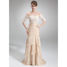 Trumpet/Mermaid Strapless Court Train Chiffon Mother of the Bride Dress With Cascading Ruffles