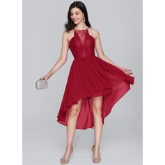 A-Line Scoop Neck Asymmetrical Chiffon Homecoming Dress