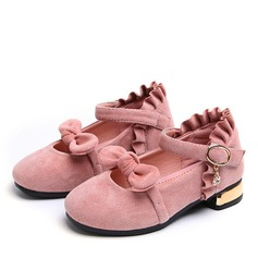 Girl's Round Toe Closed Toe Fabric Flat Heel Flats Flower Girl Shoes With Bowknot Velcro