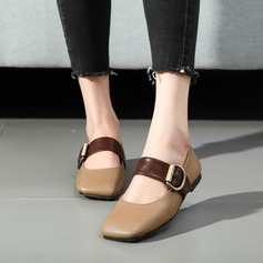 Women's Leatherette Chunky Heel Flats Closed Toe With Buckle shoes