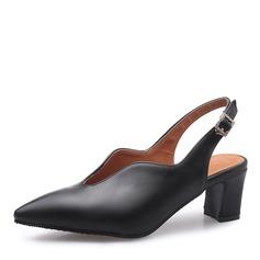 Donna Similpelle Tacco spesso Sandalo Stiletto Punta chiusa con Fibbia scarpe