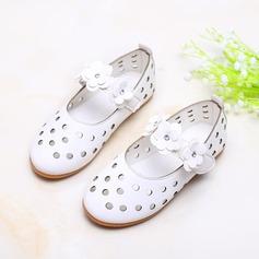 Fille de similicuir talon plat bout rond Chaussures plates avec Velcro Une fleur Ouvertes