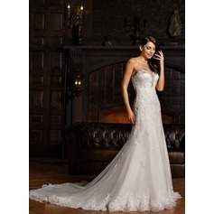 Trumpet/Mermaid Sweetheart Chapel Train Tulle Lace Wedding Dress With Beading Sequins (002067234)