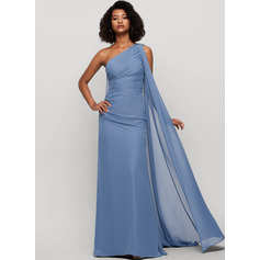 Sheath/Column One-Shoulder Floor-Length Chiffon Evening Dress With Ruffle