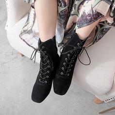 Mulheres Camurça Salto baixo Bombas Bota no tornozelo com Aplicação de renda sapatos