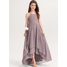 A-Line Scoop Neck Asymmetrical Chiffon Junior Bridesmaid Dress With Ruffle Bow(s) (009217818)