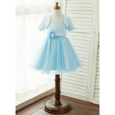 A-Line/Princess Knee-length Flower Girl Dress - Satin/Tulle Sleeveless Square Neckline With Flower(s) (Wrap included) (010122574)
