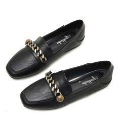 Women's Leatherette Flat Heel Flats Closed Toe With Chain shoes