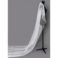 Two-tier Beaded Edge Cathedral Bridal Veils With Faux Pearl