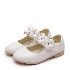 Girl's Closed Toe Leatherette Flat Heel Flats Flower Girl Shoes With Velcro Flower (207153192)