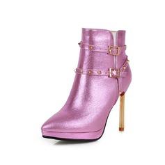 Vrouwen Echt leer Kunstleer Stiletto Heel Enkel Laarzen met Gesp schoenen