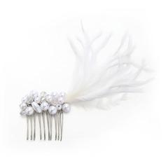 Señoras Único La perla de faux/Pluma Peines y pasador con Perla Veneciano (Se venden en una sola pieza)