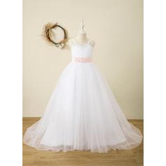 Ball-Gown/Princess Floor-length Flower Girl Dress - Satin Sleeveless Straps With Sash/Rhinestone (Detachable sash) (010220966)