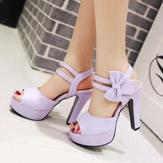 Mulheres PU Salto robusto Sandálias Bombas Plataforma Peep toe Sapatos abertos com Bowknot sapatos