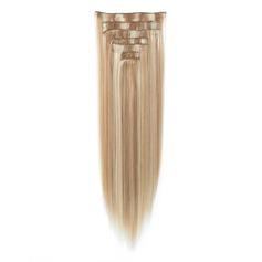 Tout droit cheveux synthétiques Pince pour extensions capillaires 7PCS 130g