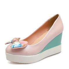 Vrouwen PU Wedge Heel Pumps Plateau Closed Toe Wedges met strik schoenen