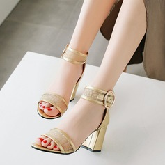 Women's Mesh PU Chunky Heel Sandals Pumps Peep Toe With Buckle shoes (087208919)