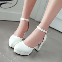 De mujer Cuero Tacón ancho Salón Plataforma zapatos