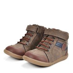 Misto Pelle microfibra Heel piatto Punta rotonda Stivali alla caviglia Stivali con Velcro Cerniera