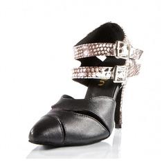 Mulheres Couro Saltos Sandálias Salão de Baile com Oca-out Sapatos de dança