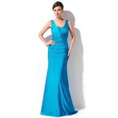 Trumpet/Sjöjungfru V-ringning Golvlång Jersey Aftonklänning med Rufsar Pärlbrodering Paljetter