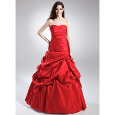A-Line/Princess Sweetheart Floor-Length Taffeta Quinceanera Dress With Ruffle (021015842)