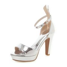 Femmes Cuir verni Talon bottier Sandales Escarpins Plateforme À bout ouvert avec Ouvertes chaussures