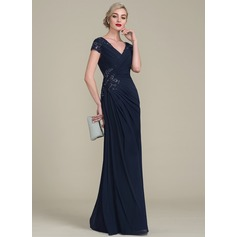 A-Line/Princess V-neck Floor-Length Jersey Mother of the Bride Dress With Beading (008118044)