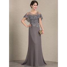 A-Line Scoop Neck Sweep Train Chiffon Lace Mother of the Bride Dress