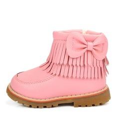 Pigens Leatherette Flad Hæl Round Toe Mid Læggen Støvler Støvler med Bowknot Tassel Lynlås