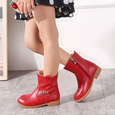 Girl's Mid-Calf Boots Leatherette Flat Heel Flats Boots With Zipper
