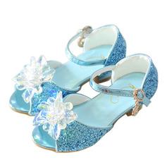 tytön Peep toe tekonahka Low Heel Sandaalit Flower Girl Kengät jossa Bowknot Solki