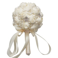 Round Satin Bridal Bouquets/Bridesmaid Bouquets/Flower Gifts (Sold in a single piece) -
