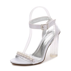 Women's Silk Like Satin Chunky Heel Peep Toe Pumps Sandals Slingbacks With Buckle Imitation Pearl