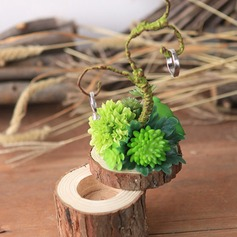 Dreamy Wood Ring Box With Artifical Plants
