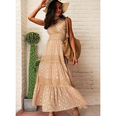 Spets PolkaDot A-linjeklänning Ärmlös Maxi Fritids Semester skater Modeklänningar (294252921)