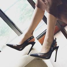 Mulheres Malha Salto agulha Bombas Sapatos abertos com Alça trançada sapatos