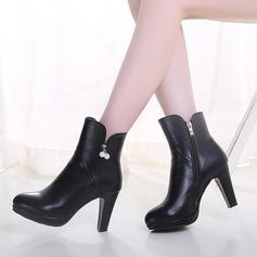 Femmes Similicuir Talon bottier Bottes avec Strass Zip chaussures (088109399)