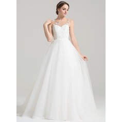 Ball-Gown Scoop Neck Sweep Train Tulle Wedding Dress With Ruffle Appliques Lace (002084728)