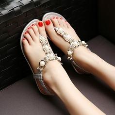 Mulheres Couro Sem salto Peep toe Sandálias Sapatos abertos Beach Wedding Shoes com Pérola Imitação Strass