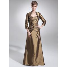 Çan/Prenses Kalp Kesimli Uzun Etekli Taffeta Gelin Annesi Elbisesi Ile Büzgü Boncuklama