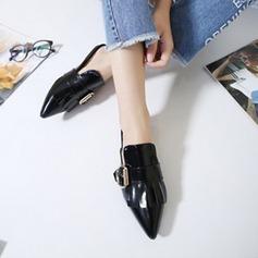 Kvinnor Lackskinn Flat Heel Platta Skor / Fritidsskor Stängt Toe Slingbacks Tofflor med Bowknot Spänne skor