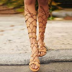 Kvinnor Mocka Flat Heel Sandaler Platta Skor / Fritidsskor med Bandage skor