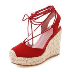 Femmes Vrai cuir Talon compensé Sandales Plateforme Bout fermé Compensée avec Dentelle chaussures